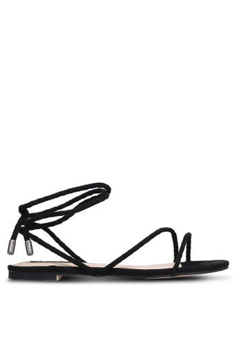 ZALORA black Braided Tie Up Sandals 8CFD8SHEEBB1CBGS_1