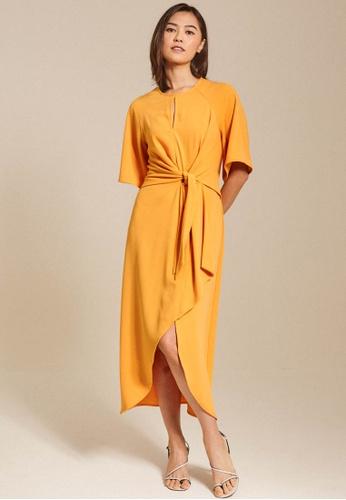 Dressing Paula yellow Front-Tie Crepe Midi Dress 5D9BAAACB28EC6GS_1