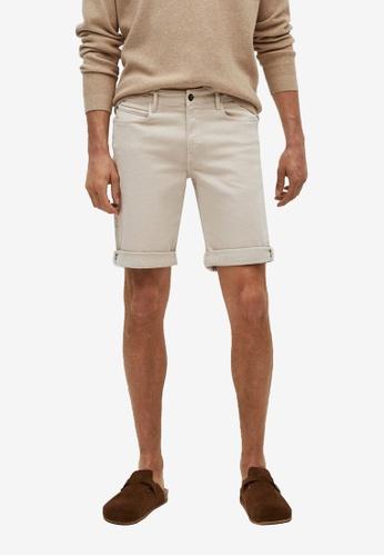 MANGO Man beige Stretch Cotton Denim Shorts FAEC0AA084C92CGS_1