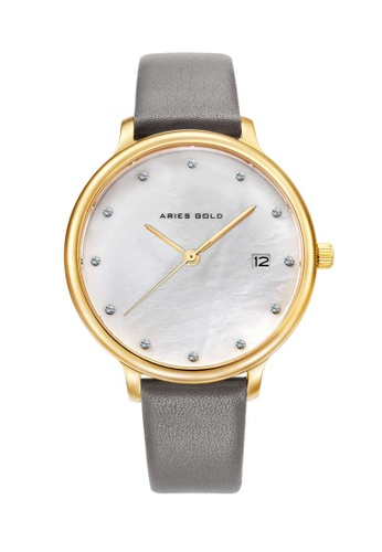 Aries Gold grey Aries Gold Enchant Fleur L 5035 Gold and Grey Watch D1EB2ACCA15FD3GS_1