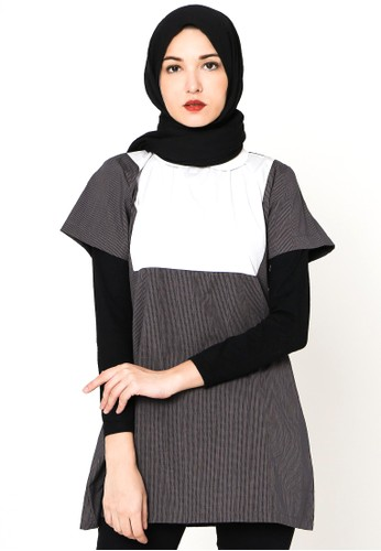 Cullotes white and grey Cullotes Naura Grey Combi White Square Blouse CU322AA26SGJID_1