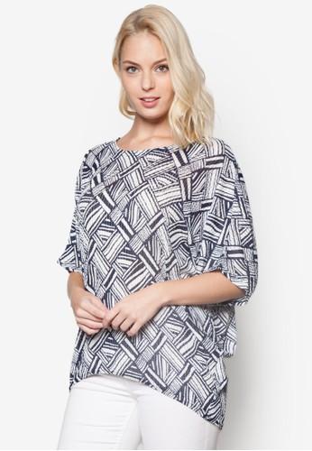 Devona 幾何圖形短袖上衣, esprit 台灣官網服飾, 上衣