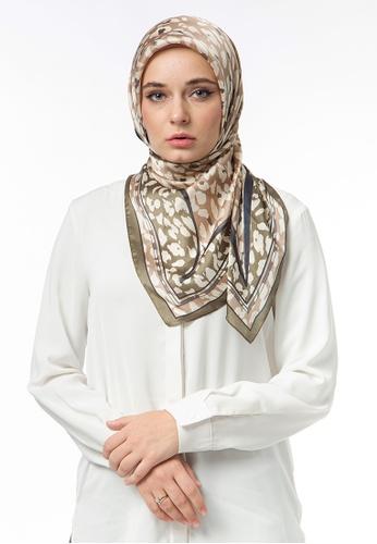 FATIMÉ multi Satin Square Hijab Moon (Dark Green) AD39AAA50C5DCDGS_1