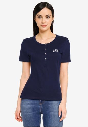 Aeropostale navy Short Sleeve Henley T-Shirt 2CED6AA2693325GS_1