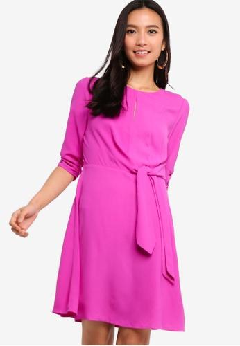 ZALORA 紫色 Ruched Sleeves Fit & Flare Dress A1AB2AAF3B2EC1GS_1