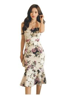 2018 S S New Floral Sweetheart Peplum One Piece Dress CA041802  7D32CAA3408E45GS 1 Sunnydaysweety ... e7ad1d410