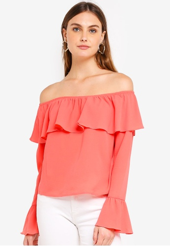 Glamorous orange Long Sleeved Bardot Flare Top D4E7DAACB090E1GS_1