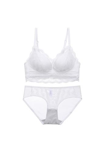 Midnight 白色 Premium Lace White Lingerie Set (Bra and Underwear) 187D3US494397FGS_1