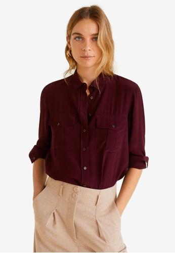 Mango red Pockets Flowy Shirt 305F1AA5853B5AGS_1
