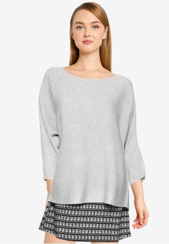 Vero Moda grey Nora 3/4 Boat Neck Knitted Top 8668FAAE520CECGS_1