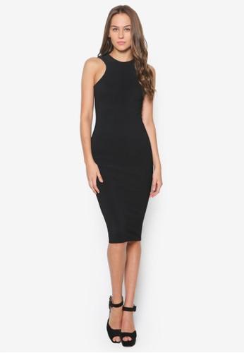 削肩挖背及膝連身裙, 服飾, zalora 衣服評價洋裝
