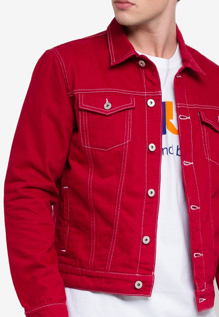 Contrast Denim Topman Denim Jacket Contrast Stitch Red Stitch Red Jacket nYqApwan