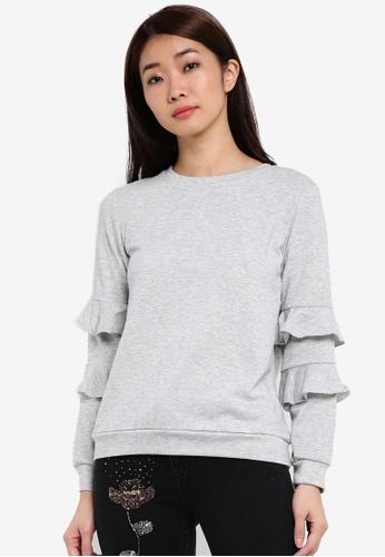 Dorothy Perkins grey Petite Grey Ruffle Sleeve Jumper DO816AA0RSOBMY_1