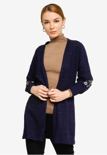 Gene Martino blue Rosie Embroidery Cardigan 569BEAA435A227GS_1