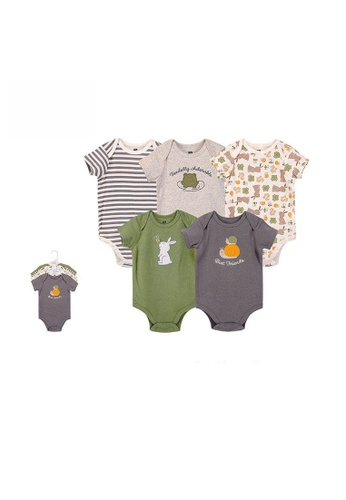 Little Kooma grey Hudson Baby Short Sleeve Bodysuits 5 Piece Pack Best Friends 52449 - 1116 08BEFKAE530C8AGS_1