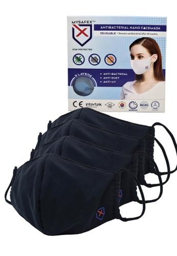 Mysafex black MYSAFEX™ Reusable & Washable Antibacterial Nano Face Mask Family Pack 2 (4 PCS) - Black A9B48ESC9C9545GS_1