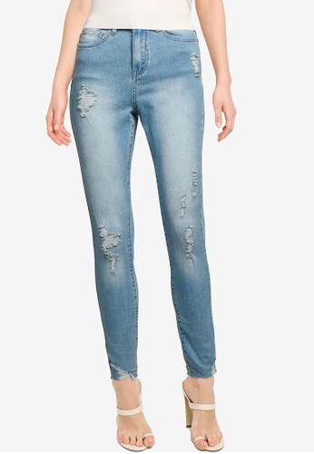 MISSGUIDED blue Sinner High Waist Destroy Hem Skinny Jeans 15629AAD4640F9GS_1