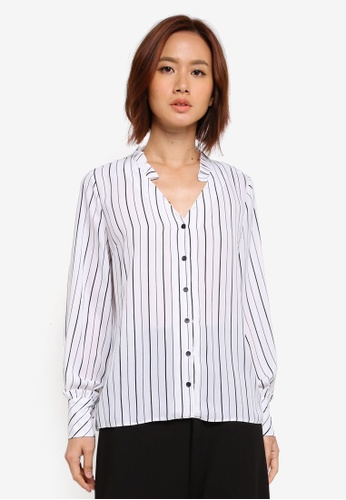 Dorothy Perkins white Ivory Stripe Frill Shirt 20019AAB7AC164GS_1