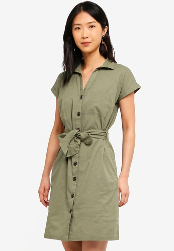 ad6ed7f7ed41 Buy Dorothy Perkins Khaki Short Sleeve Linen Dress Online on ZALORA ...