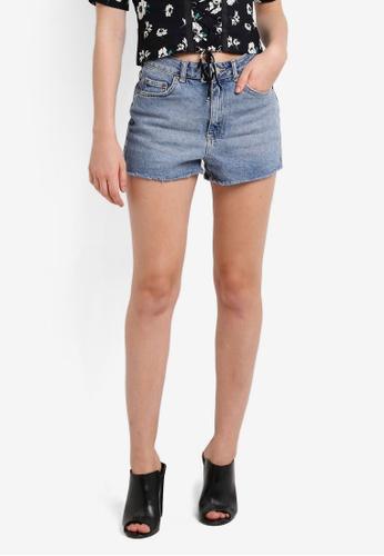 TOPSHOP blue Moto Premium Comfort Stretch Mom Shorts TO412AA0RI9TMY_1