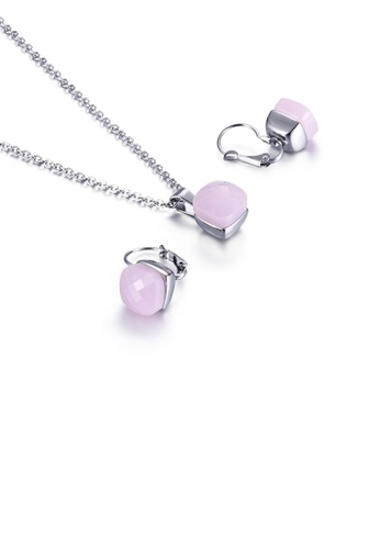 Glamorousky pink Fashion Simple Geometric Square 316L Stainless Steel Necklace and Earring Set with Pink Cubic Zirconia 22A70AC45B693BGS_1