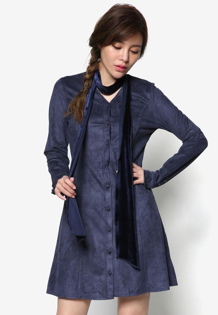 Korean Fashion Suede A Line Dress