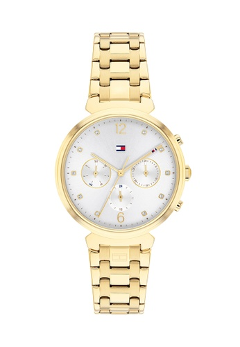 Tommy Hilfiger Watches white and gold Women's Ionic Thin Gold Plated 2 Stainless Steel Bracelet and White Dial Quartz Watch 73414ACB08F670GS_1