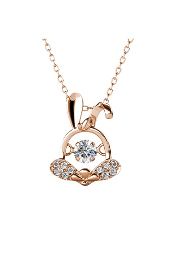 Her Jewellery gold 12 Dancing Zodiac Pendant (Rabbit) RG - Made with premium grade crystals from Austria 3CB07AC6A50790GS_1