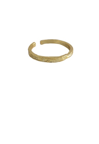Glamorousky silver 925 Sterling Silver Plated Gold Simple Personality Irregular Geometry Adjustable Opening Thin Ring 28101ACE20A9A9GS_1