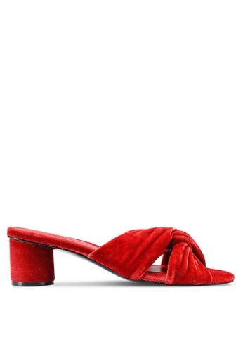 Mango 紅色 Knot 絲絨涼鞋 4013ESHB4B73B4GS_1