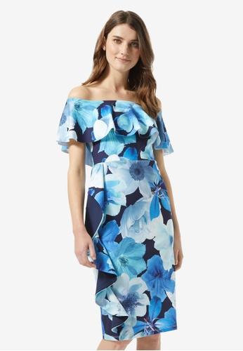 Dorothy Perkins blue Luxe Blue Floral Print Frill Bardot Dress D0B58AAB39D598GS_1
