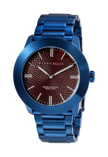 PERRY ELLIS blue Perry Ellis Slim Line Men 46mm Quartz Stainless Steel Watch 03006-02 C5570ACE0F6FF3GS_1