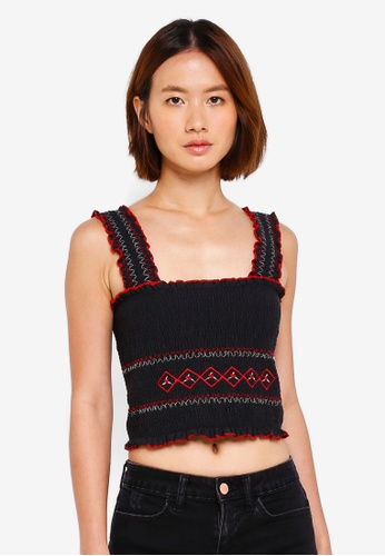 Miss Selfridge black Embroidered Shirred Pinafore Style Crop Top 0BFB7AAA2237BFGS_1