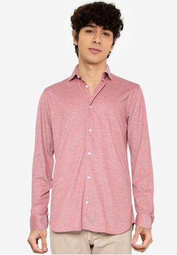 JACK & JONES red Blaknit Oxford Long Sleeves Shirt 0C603AAE8D3170GS_1