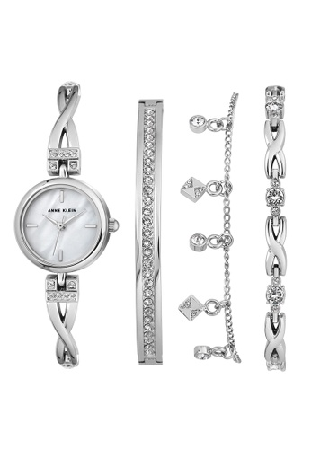 Anne Klein silver Anne Klein Women's  AK-3083SVST Swarovski Crystal-Accented Silver-Tone Bangle Watch and Bracelet Set 38BD7ACDD3C0D5GS_1