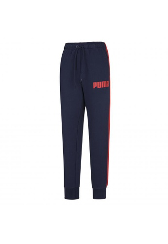 puma blue Contrast Cuffed Knitted Men's Sweatpants D296EAA70898D4GS_1