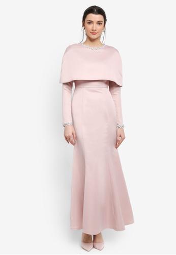 Zalia pink Embellished Cape Mermaid Dress BD326AA08201EDGS_1