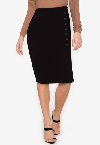 Twenteen black Button Up Front Slit Knitted Midi Skirt 47459AAB492AF4GS_1