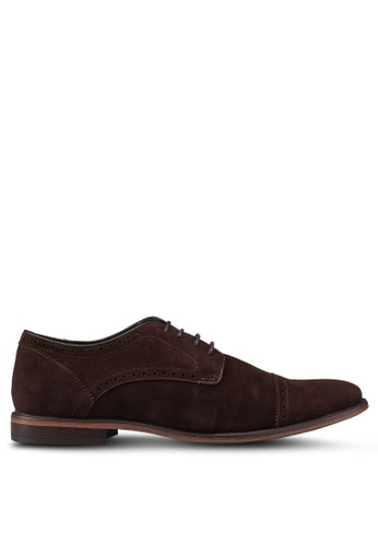 Burton Menswear London brown Brown Leather Look Lace Up Derby Shoes 4F465SH4756C91GS_1