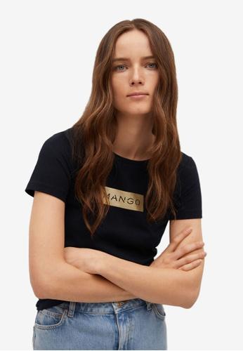 Mango 黑色 Logo Print Cotton T-Shirt 31E21AAF36C8FCGS_1