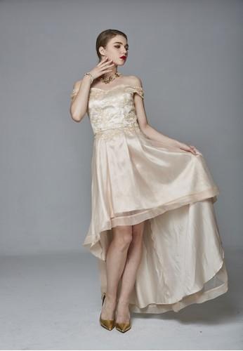 一字領蕾esprit台北門市絲拼接烏干紗禮服, 服飾, 派對洋裝