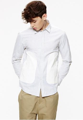 Life8 white Long sleeved Stitch Design Slim Fit Shirts-03879-White LI283AA0FUEGSG_1