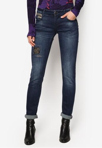 繡花窄管牛仔褲,zalora 台灣門市 服飾, 服飾