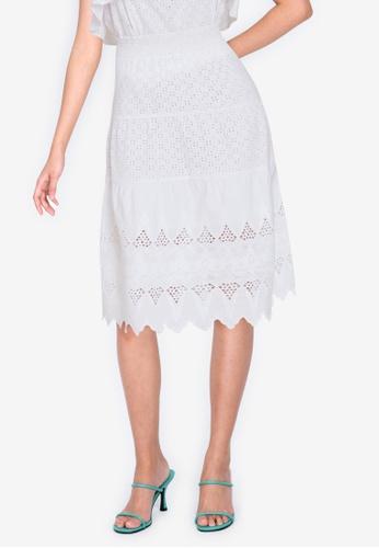 ZALORA BASICS white Broderie Midi Skirt 789B6AABF0F223GS_1