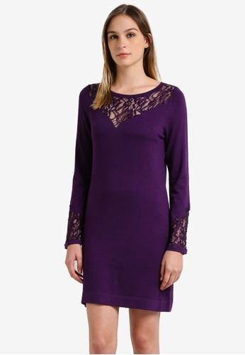 Wallis purple Plum Lace Panelled Dress WA800AA0RU8YMY_1