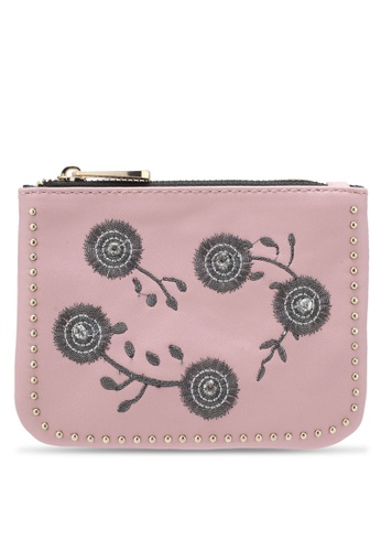 TOPSHOP pink Riley Embroidered Studded Purse TO412AC0SD6YMY_1
