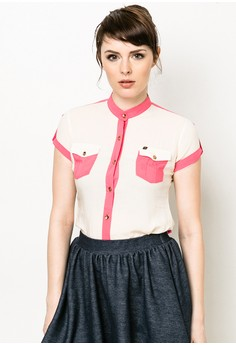 Cut and Sew Woven Blouse