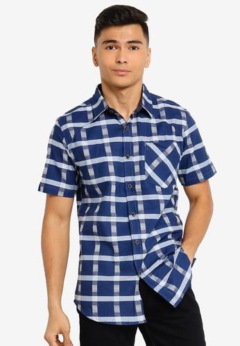 Fidelio blue Checkered Signature Short Sleeve Shirt D500BAAB1DBED4GS_1
