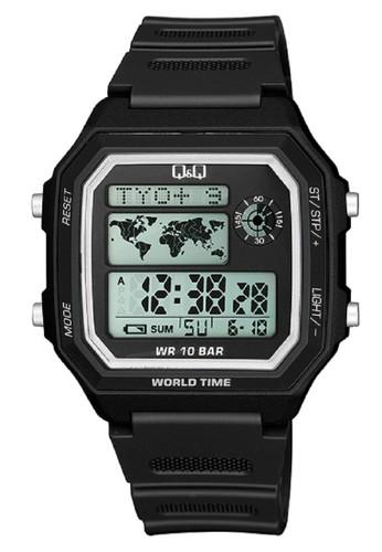 Q&Q black Q&Q QNQ QQ Original Watch Jam Tangan Pria Digital Tali Karet Hitam M196J001Y F64B1AC99EC813GS_1