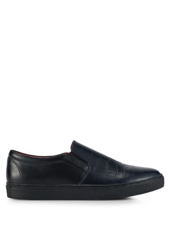 ACUTO black and navy Leather Slip-On Sneakers AC283SH0SL7JMY_1